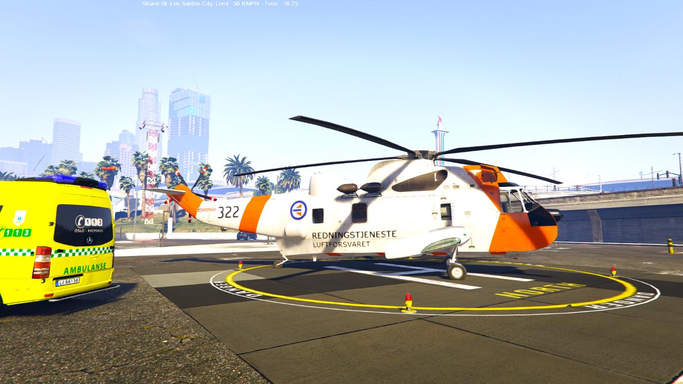 Elicottero Gta 5 : Norwegian seaking helicopter sar gta mods