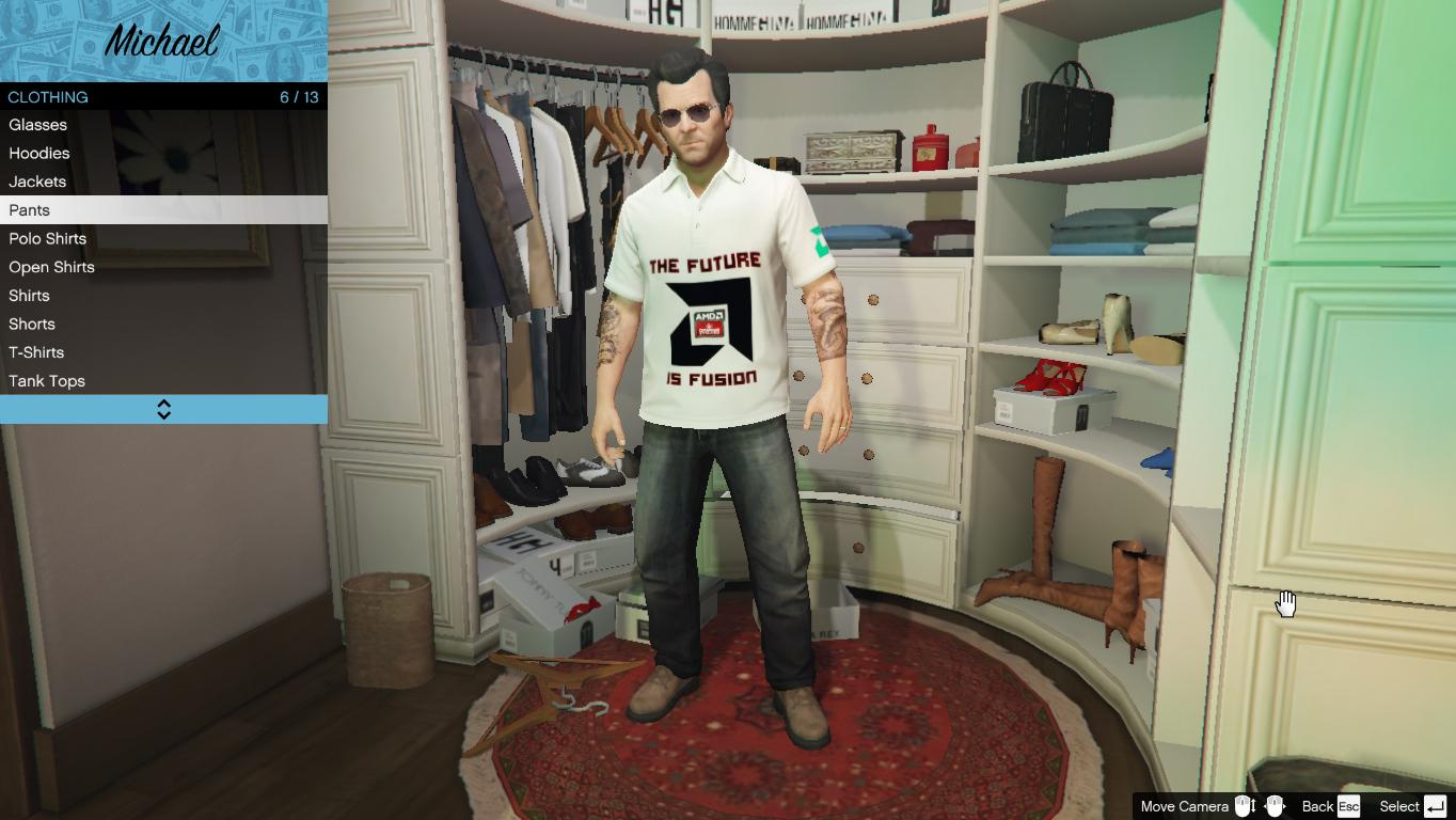 nvidia amd polo shirts for michael gta5. Black Bedroom Furniture Sets. Home Design Ideas