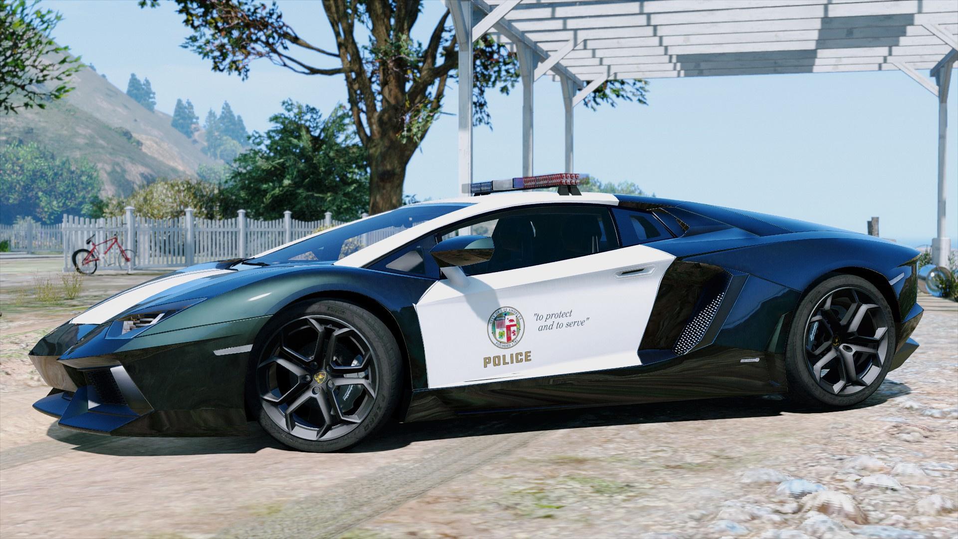 Police Lamborghini Aventador Automatic Spoiler Gta5