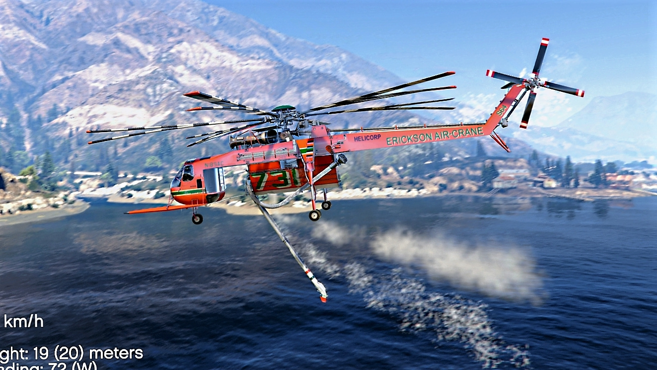 Sikorsky S-64E Fire Fighting Helicopter [Add-On / Replace