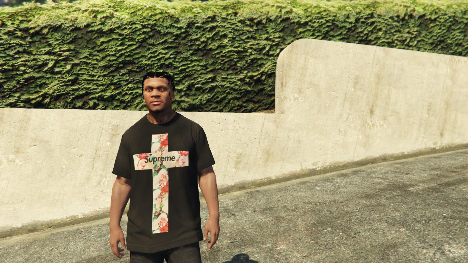 Supreme Floral Cross T Shirt For Franklin Gta5 Modscom