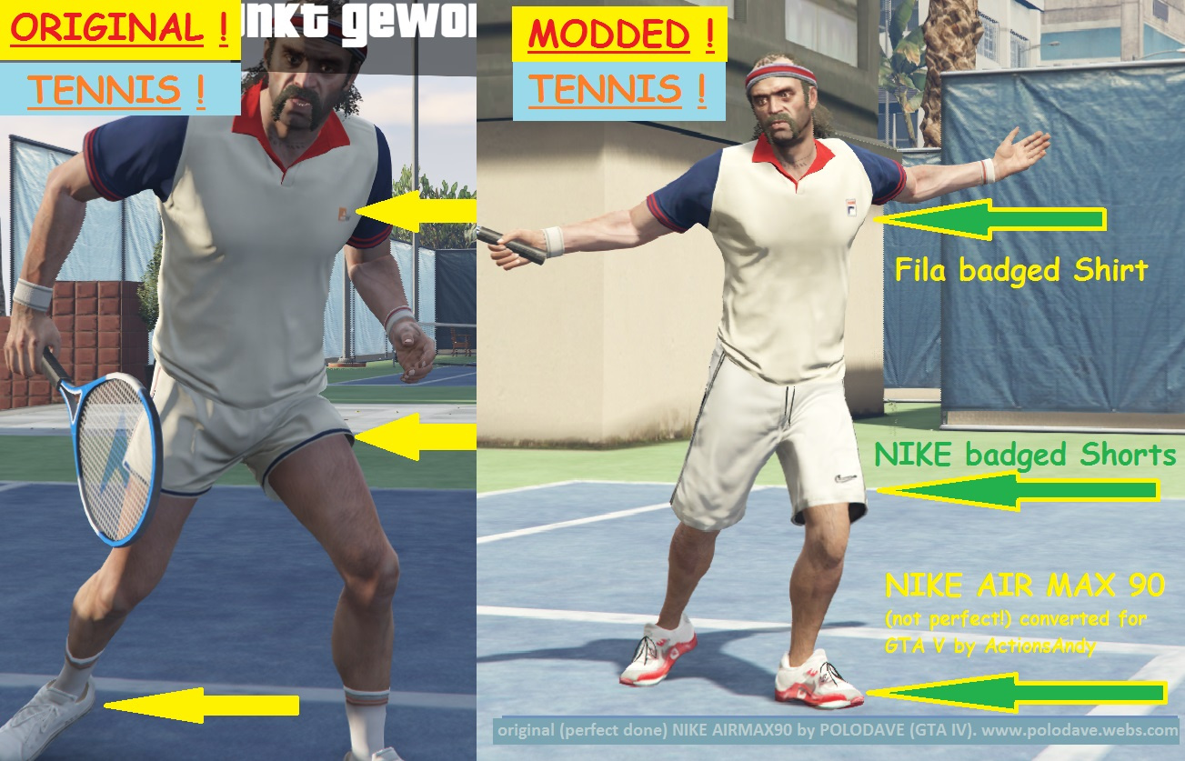 New Tennis Clothes For Trevor Gta5 Mods Com