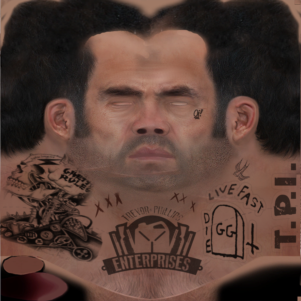 Trevor With Hair Neck Tattoos New Gloves GTAModscom - Bald hairstyle gta 5